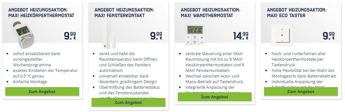 MAX! Heizkörperthermostat, Fensterkontakt, Ecotaster u. Wandthermostat ab 9,99 bei Mobilcom Debitel on- und offline