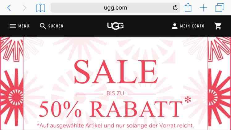UGG Australia Sale bis zu 50%