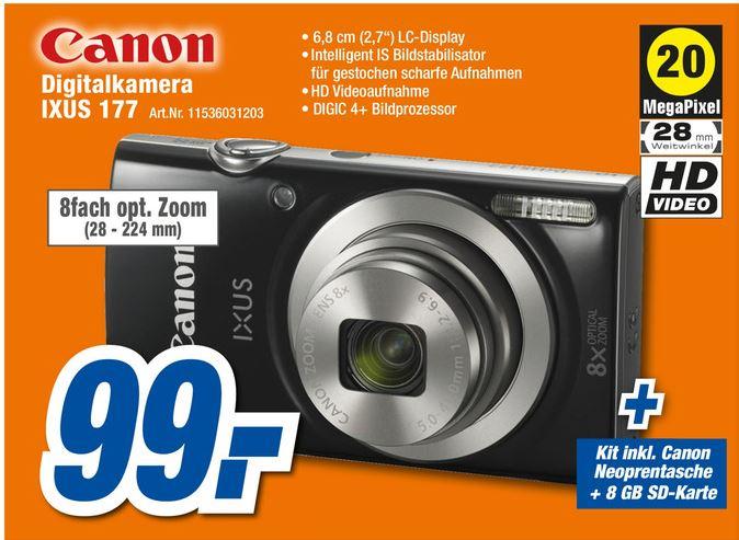[expert] Canon IXUS 177 Black inkl. Essential Kit (8GB SD-Karte, Neoprentasche) für 99€ (lokal?)