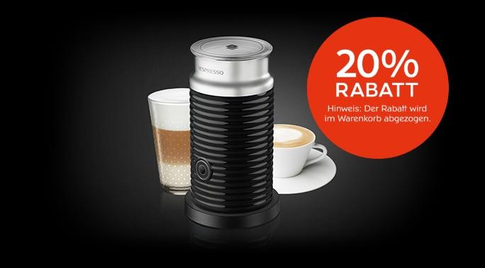 Nespresso 20% Rabatt auf alle Nespresso Pixie Maschinen, Aeroccino3 und Touch Lungo Cup Sets