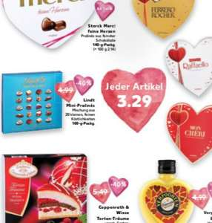 [Kaufland] Coppenrath und Wiese Tortentraum, Ferrero Rocher Herz, Lindt Mini-Pralines, Mon Cheri Herz für je 3,29 €