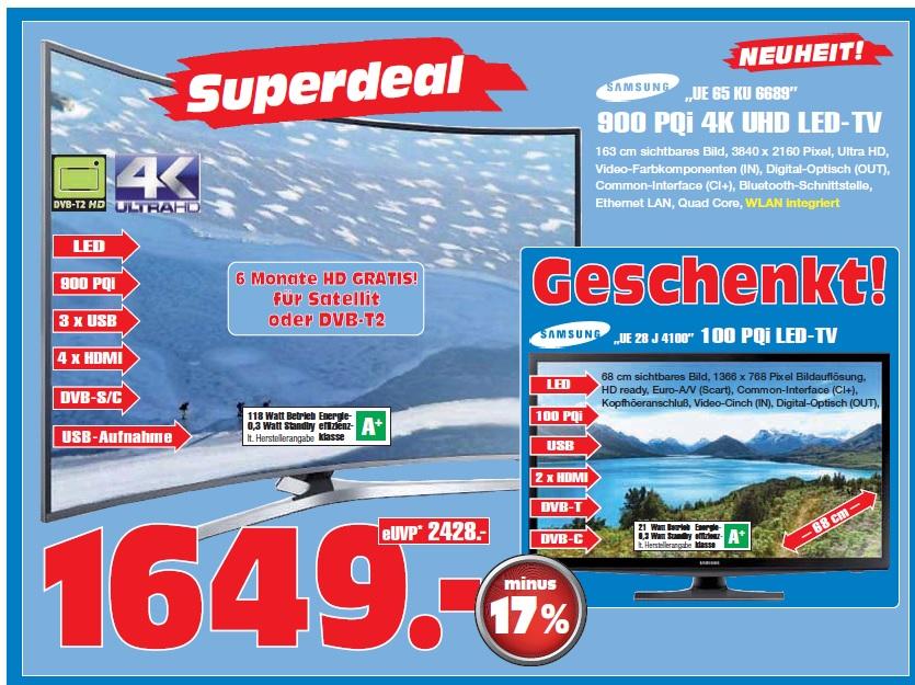 [Lokal: Gelsenkirchen] Samsung UE65KU6689 + UE28J4100 Bundle