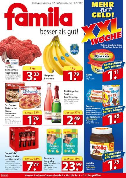 [Lokal Famila Nord Ost] Ferrero Kinder Schokoriegel, Duplo, Kinder Country oder Hanuta +1 Riegel gratis