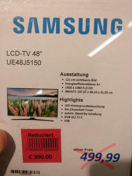 Samsung Lcd-Tv UE48J5150 Marktkauf Bielefeld Sennestadt