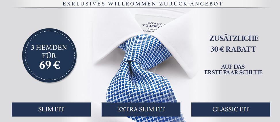 Charles Tyrwhitt: 3 Hemden inkl. Versand, zusätzliches Hemd + 24,90EUR, -30 EUR auf 1. Paar Schuhe