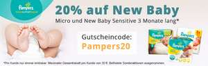 20% Rabatt auf alle Pampers Premium Protection New Baby Gr. 1&2, Pampers New Baby Sensitive und Pampers Micro Windeln
