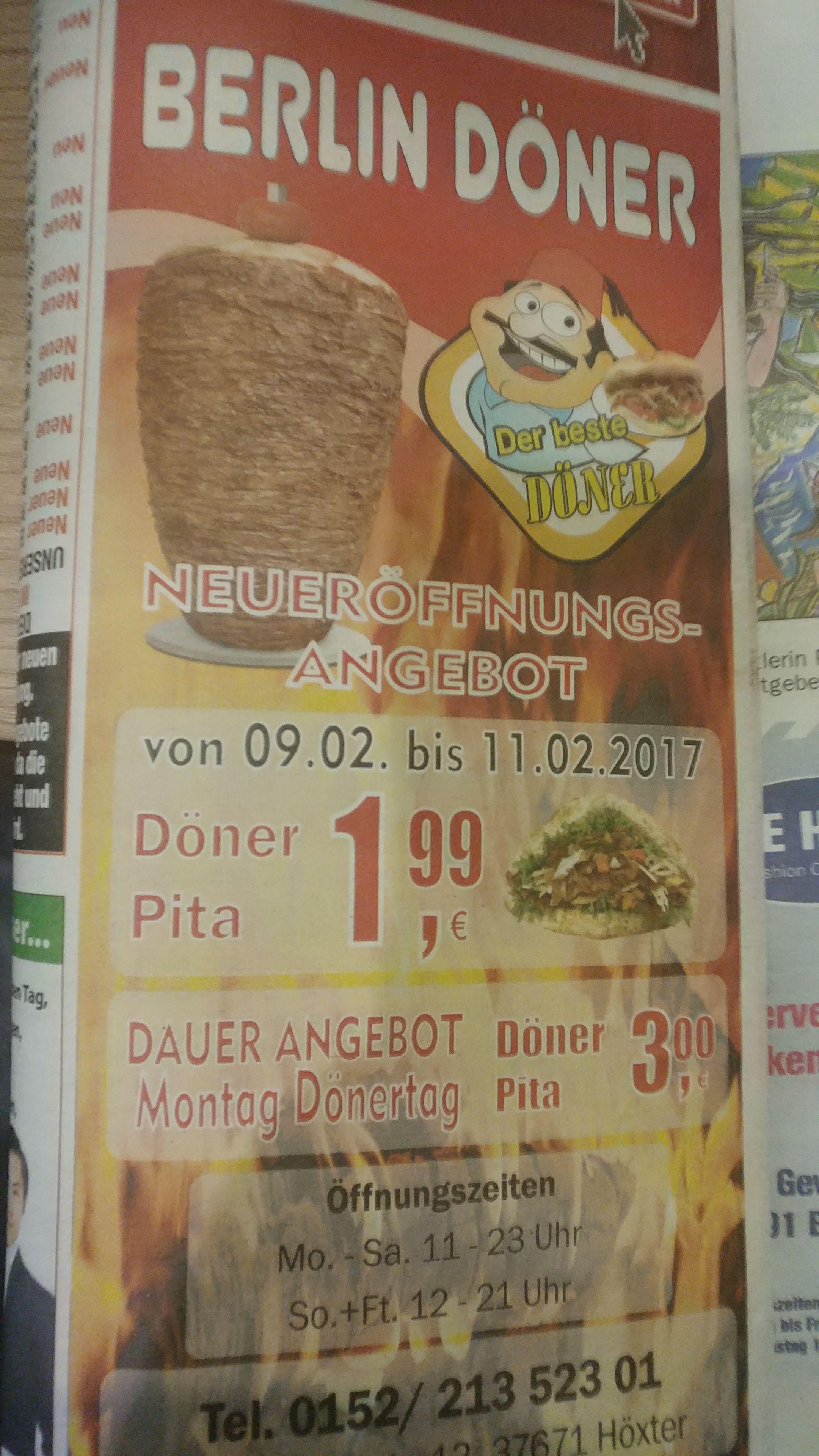 [Lokal HX] Döner Pita Neueröffnungsangebot für 1,99 statt 4 €