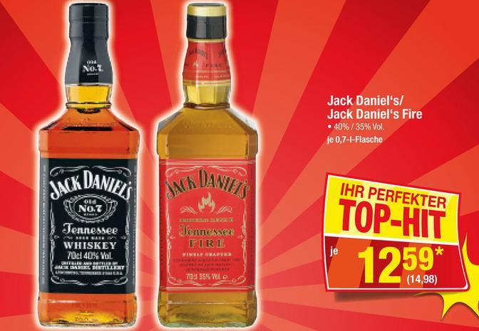 Metro Jack Daniels und Jack Daniels Fire Samstagsknüller für 14,98 brutto