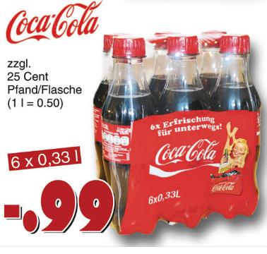 Coca Cola  6x0,33l PET für 0,17€/Flasche zzgl. Pfand =0,50/Liter [JAWOLL]