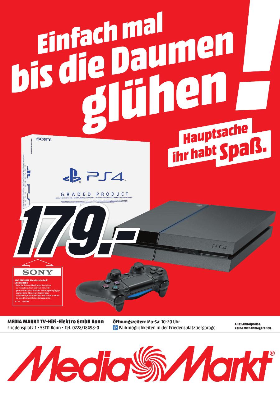 PS4 500GB refurbished lokal Media Markt Bonn