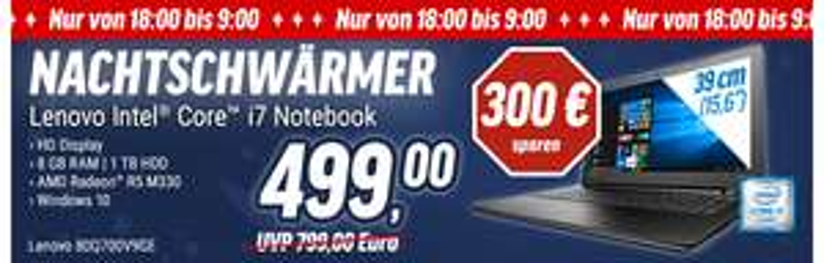 "Lenovo 300-15ISK 80Q700V9GE 15.6"", Intel Core i7-6500U, 8GB, 1TB, DVD, Radeon R5 M330, Win 10"