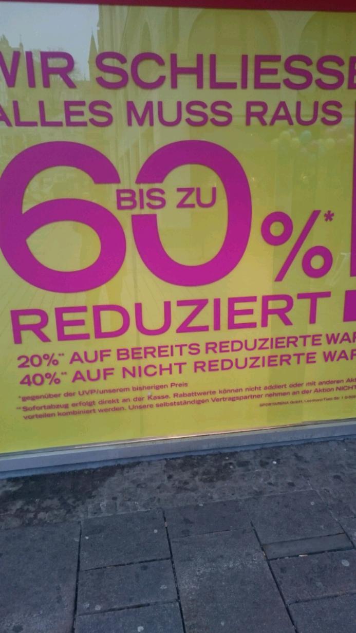 (Lokal Wiesbaden) Bis zu 60% bei Sport-Arena wegen Schliessung