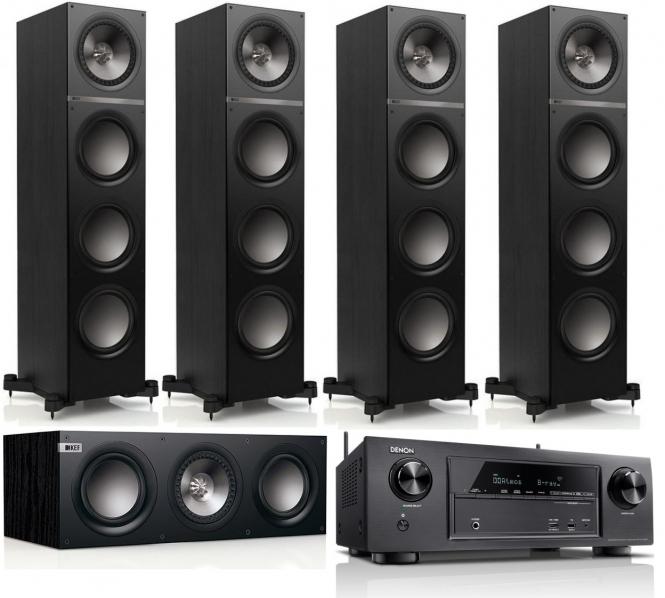 KEF Q700, Q200c und Denon x1300w - 5.0 Set (schwarz) [CSM Bundle]