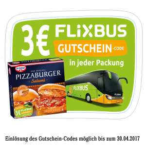 3€ FLIXBUS Gutschein in Dr. Oetker PIZZABURGER Aktionspackungen