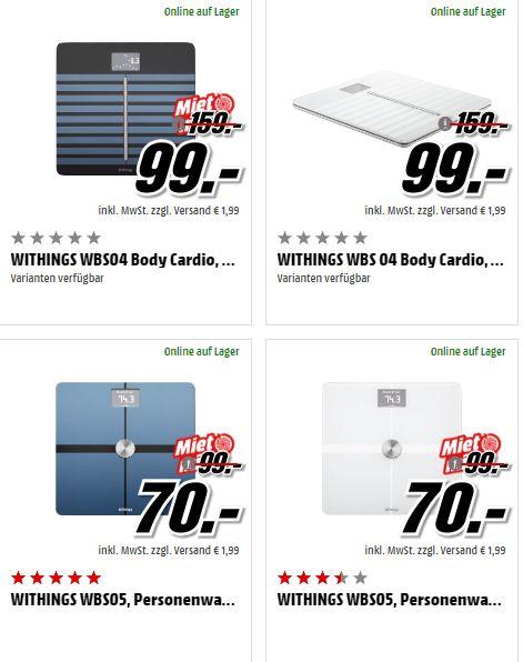 [Mediamarkt Tpss] Withings Body WBS05, Körperanalysewaage, WLAN/?Bluetooth, schwarz oder weiß für je 70,-€ Versandkostenfrei oder Withings WBS04 Body Cardio, Personenwaage, Schwarz oder Weiß für je 99,-€