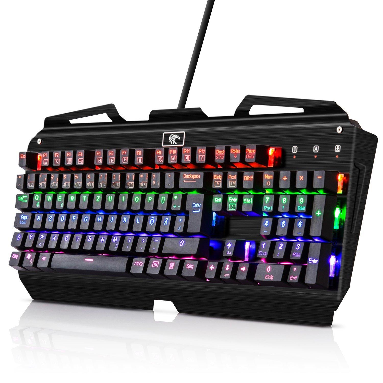 105 Keys Deutsch Mechanische Gaming Tastatur KingTop Gamer Tastatur mit Metallfuß Beleuchtet