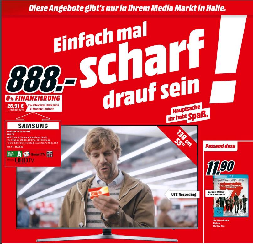 [Lokal: Halle] Media Markt SAMSUNG UE55KU6459 4k TV für 888€ statt 1299€