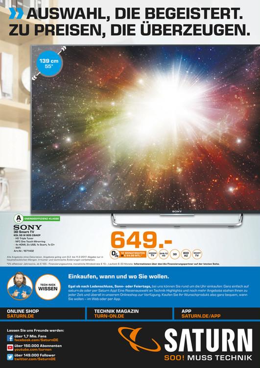 [lokal Saturn Gelsenkirchen] Sony KDL 55 W805C (100Hz nativ, 3D) statt 828€