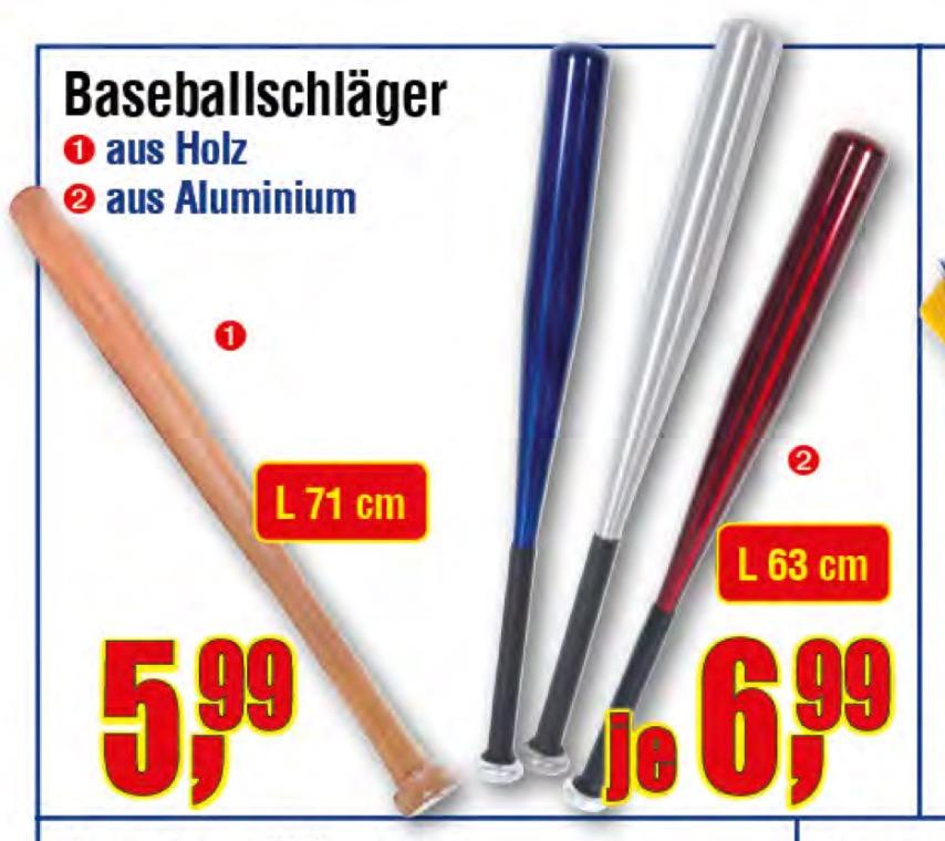 [Centershop] Baseballschläger aus Holz 5,99€ / Alu 6,99€