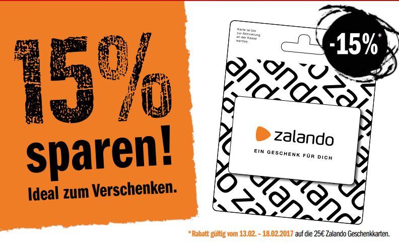[Edekamärkte und zugehörige wie Marktkauf/ NP Discount etc.] 25,-€ Zalando Geschenkkarte für 21,25€ (15%) Zeitraum..13.02 - 18.02
