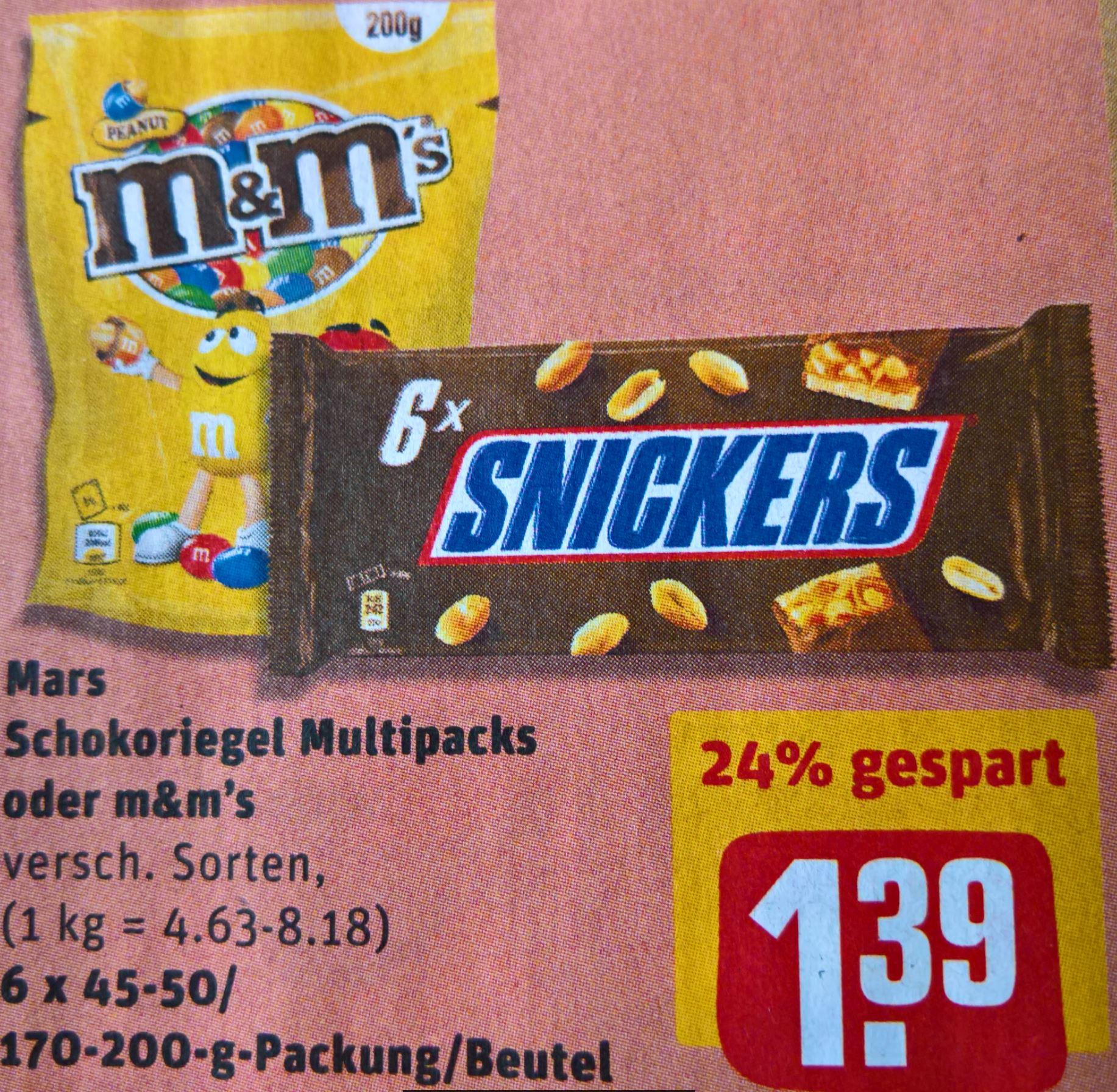 m&m's 200 Gr, sowie Mars Schokoriegel 6er Packs für jeweils 1,39 € bei Rewe