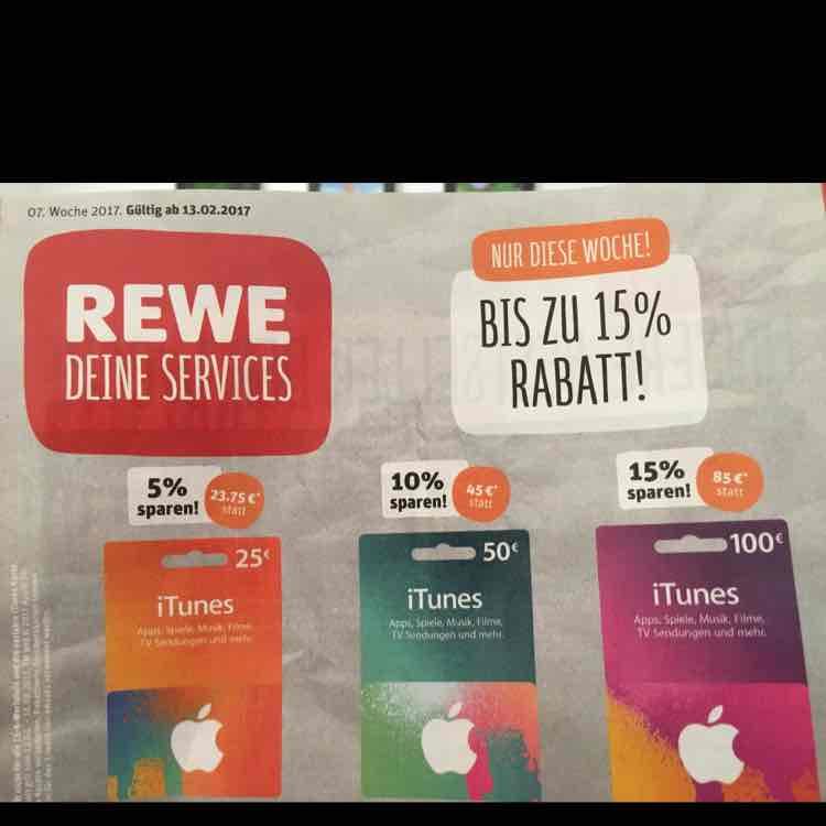 REWE ab 13.02.2017 iTunes Karten mit bis zu 15% Rabatt