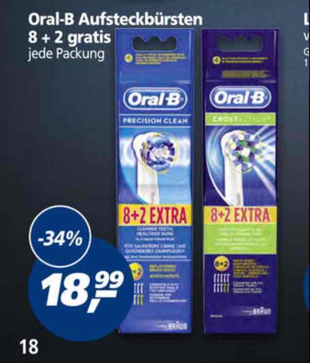 [Real Bundesweit] Oral-B Aufsteckbürsten Precision Clean oder Cross Aktion 10 Stück...am Mittwoch 10fach Paybackpunkte