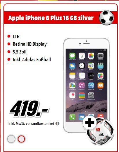 "Apple iPhone 6 Plus, 4G LTE,16 GB, 5.5"" - 1.920 x 1.080 Pixel ( 401 ppi ,Pixel pro"" )- Retina HD - 8 MP ( 1.2 MP front camera ) Silber oder Grau + Fussball für je 419,-€ [Mediamarkt Smartphonefieber]"