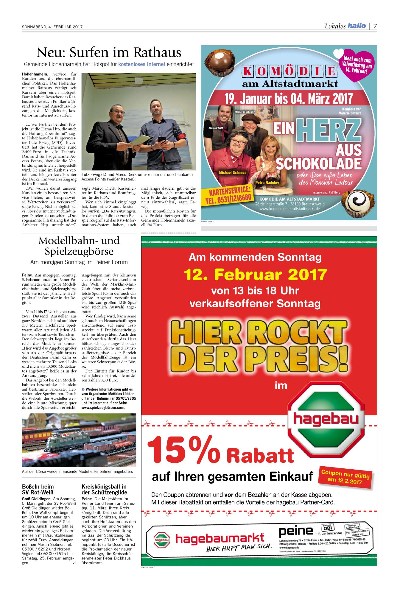 15% Rabatt auf alles bei Hagebau, Lokal Peine 12.02.2017