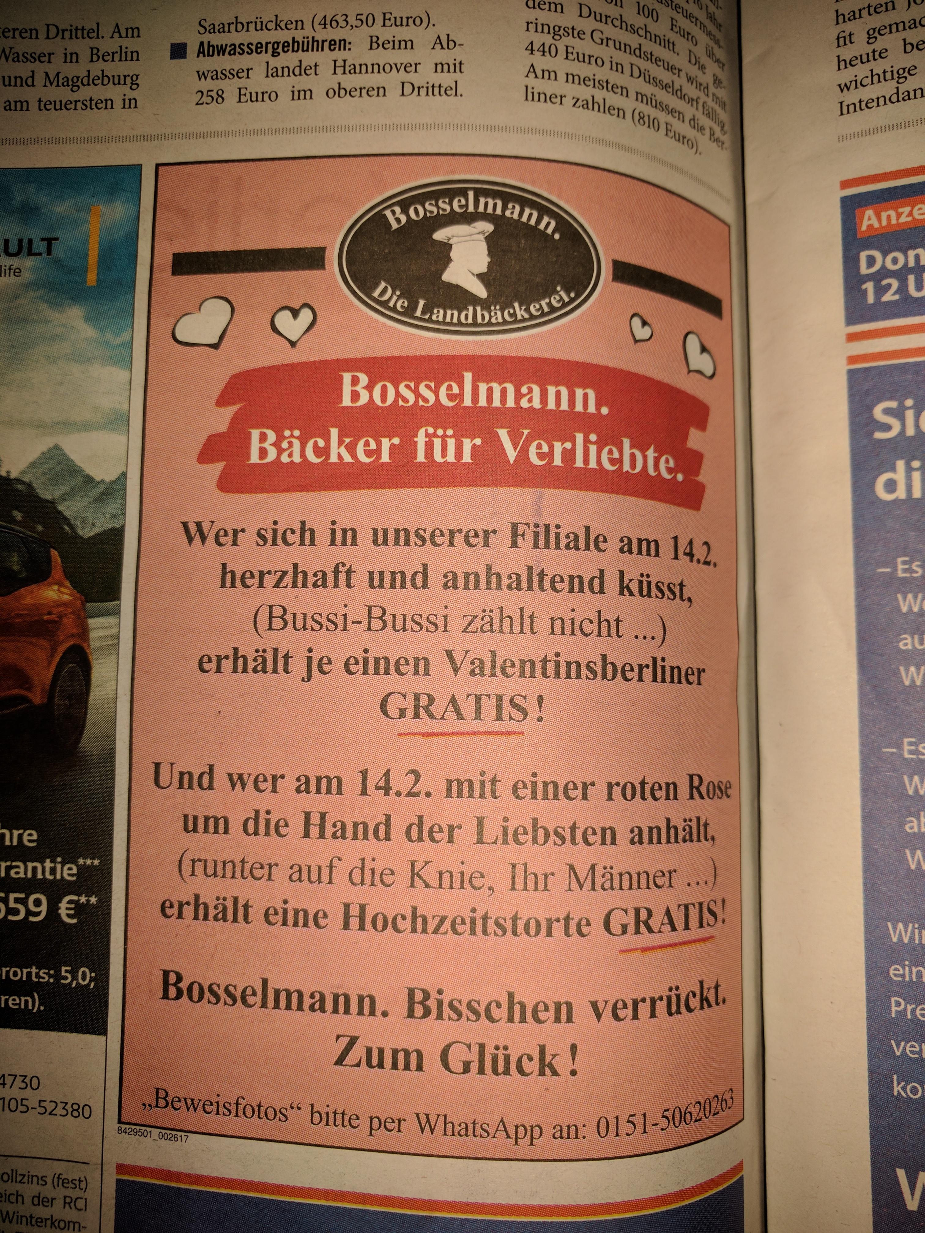 [Hannover] Berliner oder Hochzeitstorte am Valentinstag gratis* bei Bosselmann