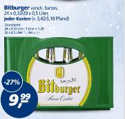 real bundesweit Bitburger 20x0,5l / 24x0,33l je 9,99€