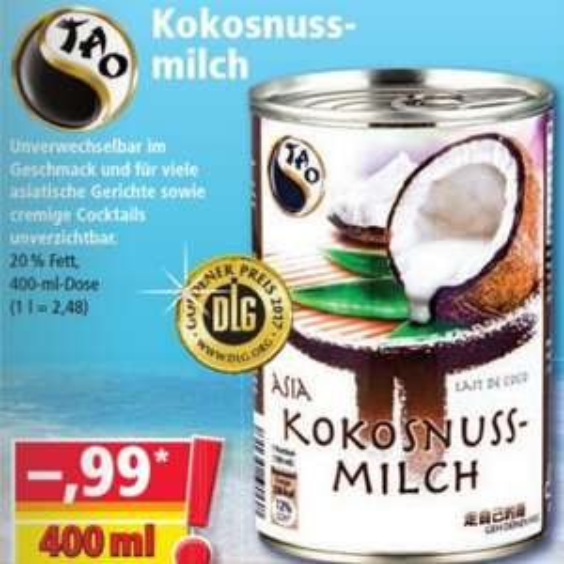 Tao Kokosnussmilch 400ml-Dose 20% Fett für 0,99€ [NORMA]