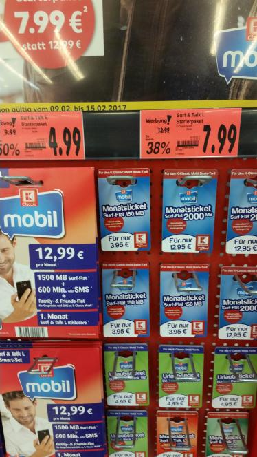 K-Mobil Prepaid Karten derzeit Runtergesetzt