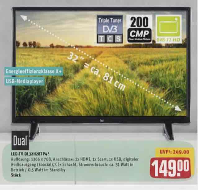 "[Rewe Center] 32"" LED-TV Dual DL32H287P4 Triple-Tuner inkl. DVB-T2"