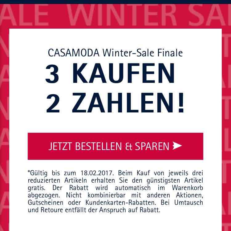 casamoda Shop 3 für 2 z.B. 3 Hemden für 55,98€