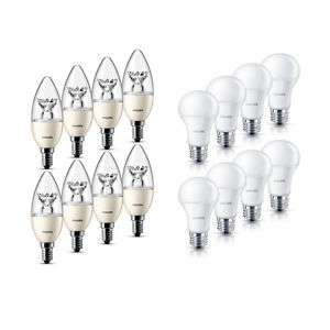 8er Pack Dimmbar Philips LED-Lampe E27/E14 3,5W/6W 250lm/470lm Warmweiß 2700K A+ für 19,99€