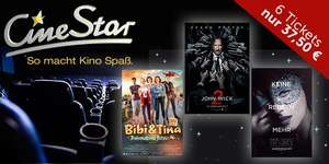 6 Tickets für Cinestar Kinos für 37,50€ bei DailyDeal [+ Shoop Cashback]