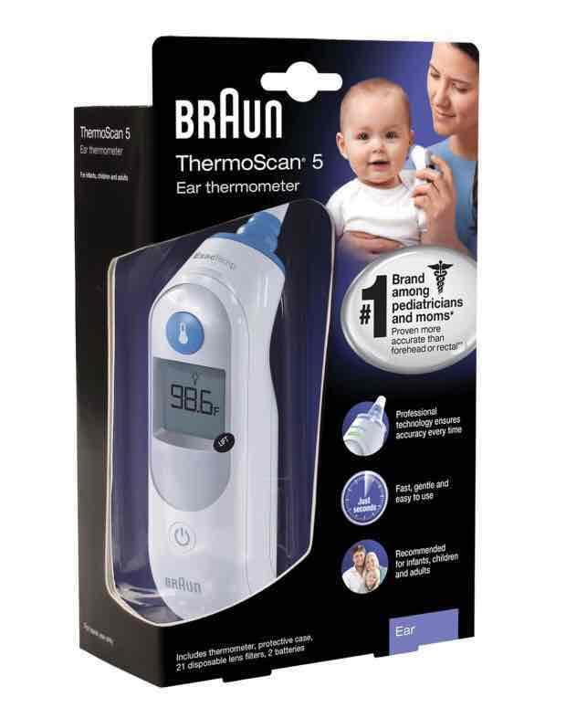 Bundle: Braun IRT6020 Thermo Scan 5 Infrarot Ohrthermometer mit 40 Braun Ersatzschutzkappen