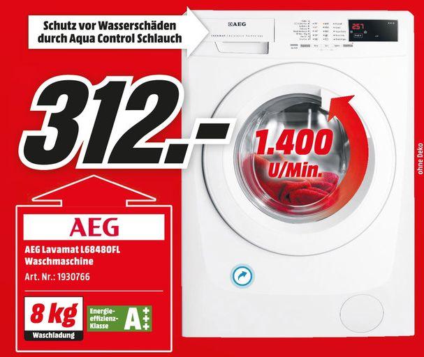 [Mediamarkt Liebesbeweis] AEG L68480FL Lavamat Weiß Waschvollautomat, A+++, 8kg, 1400 U/min? für 312,-€ Versandkostenfrei