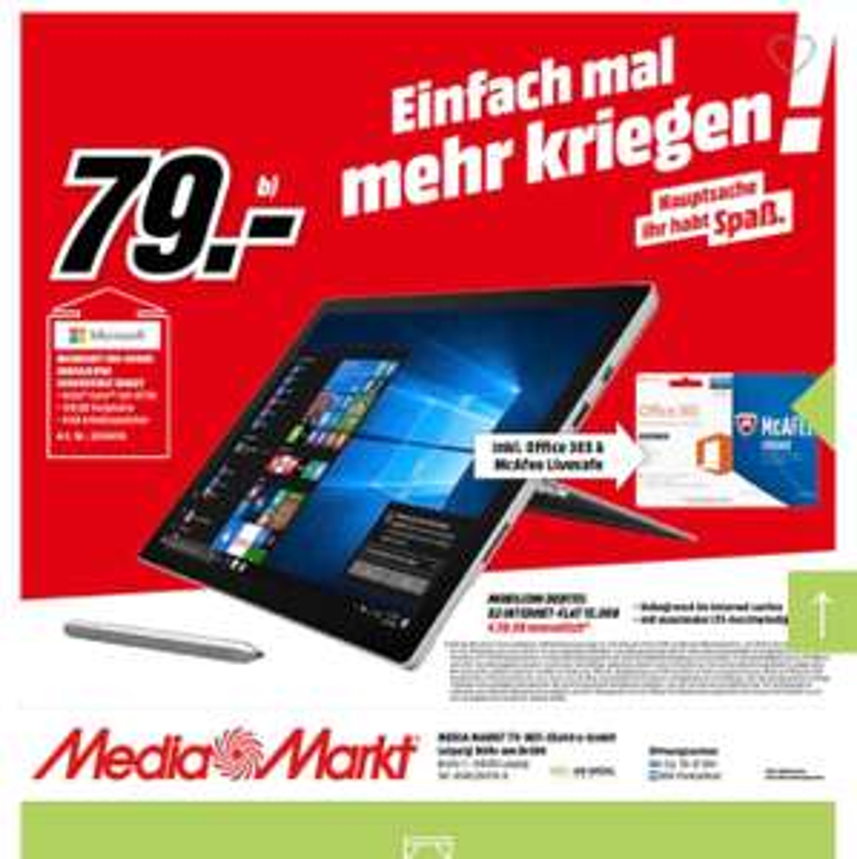 [Lokal] MM Leipzig Höfe am Brühl: Microsoft Surface Pro 4 128GB, m3 mit 15 GB Datenvolumen LTE max