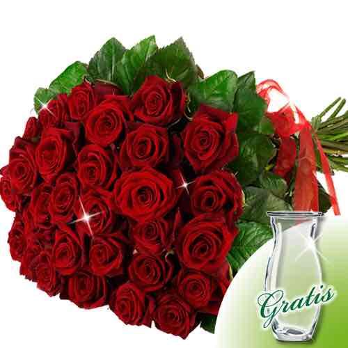 Super-Angebot! 20 oder 30 Rote Rosen im Bund + Gratis Glasvase bei FloraPrima [ab 14,99€]