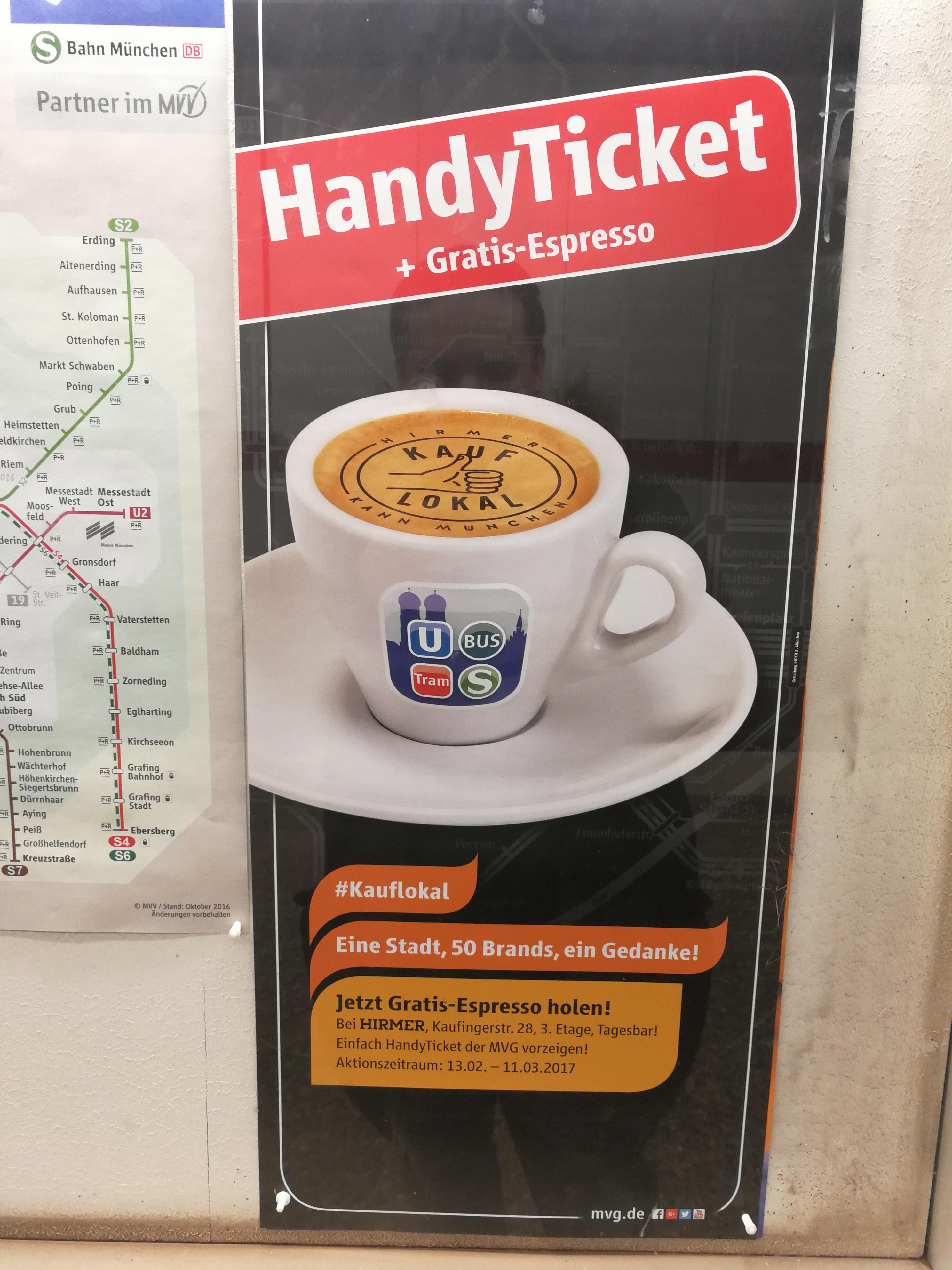 [lokal München] Gratis Espresso bei Vorzeigen eines MVG Handytickets