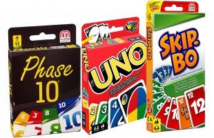 Mattel 3er Set Kartenspiele: UNO, Skip Bo und Phase 10 + Gratis Kosmos Experimentierkasten bei Rappelkiste