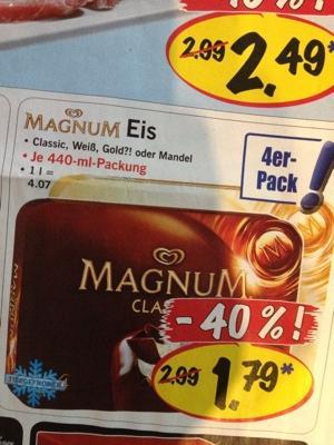 LIDL: 4er Pack Magnum (Classic, Weiß, Gold, Mandel) für 1,79 Euro - 25.6 - 30.6