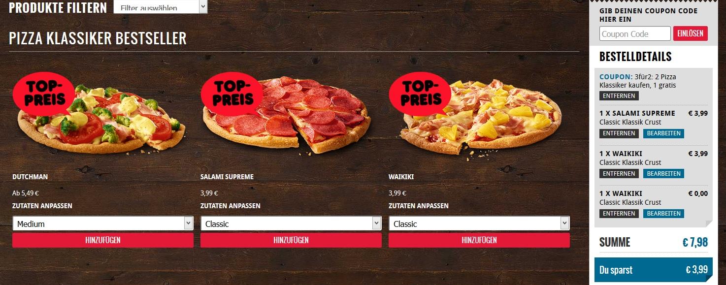 3 Classic Pizzen für Abholer bei Dominos für 7,98€