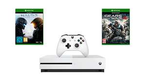 Xbox One S 500GB + For Honor + Gears of War 4 + Halo 5: Guardians + £10 Microsoft Store Gutschein für 294,51€ (Microsoft UK)