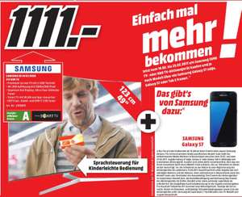 [Lokal Media Markt Elmshorn] Samsung UE49KS9090 + Samsung Galaxy S7 für 1.111,00 Euro
