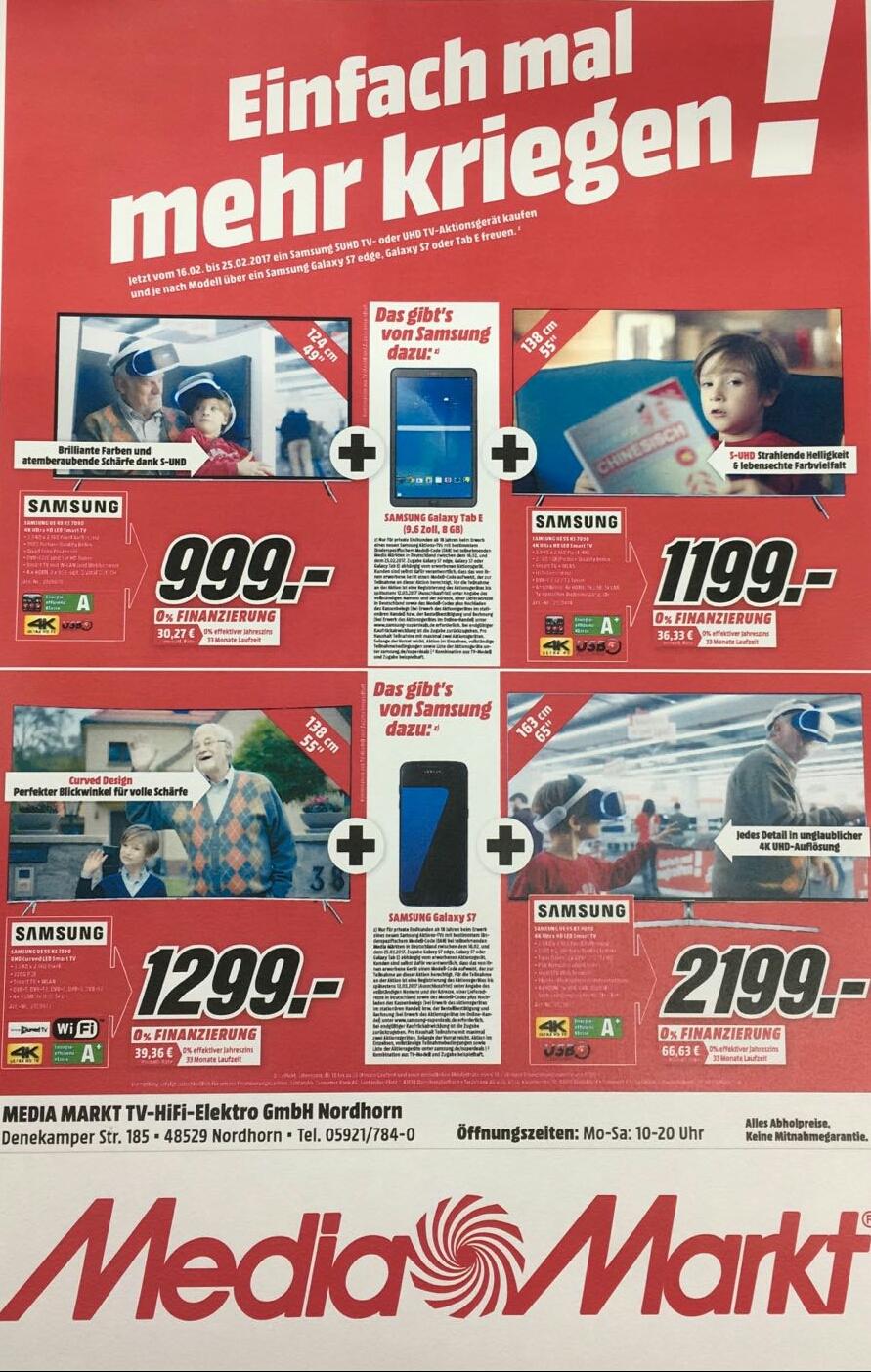 """UE55KS7090 + Galaxy TAB E(9,6"""",8GB) für 1199,- / UE55KS7590 + Galaxy S7 für 1299,- / UE49KS7090 + Galaxy TAB E(9,6"""",8GB) für 999,- euro / Samsung UE65KS8090 für 2199,- + Galaxy S7 /  (Lokal Mediamarkt Nordhorn) bundesweiter Versand möglich"""