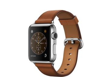 Apple Watch 38 mm mit Edelstahlgehäuse und klassischem Lederarmband in sattelbraun