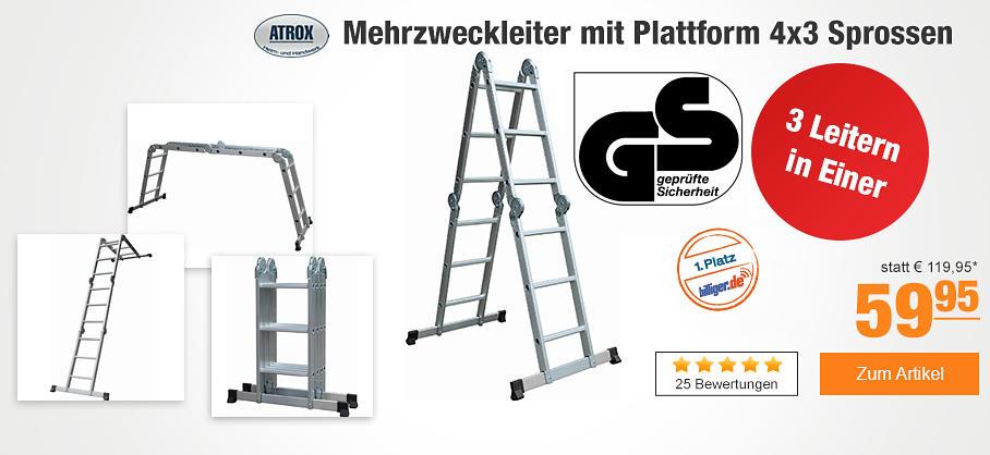 Atrox Mehrzweckleiter mit Plattform 4x3 Sprossen bei PLUS Online inkl. Versand